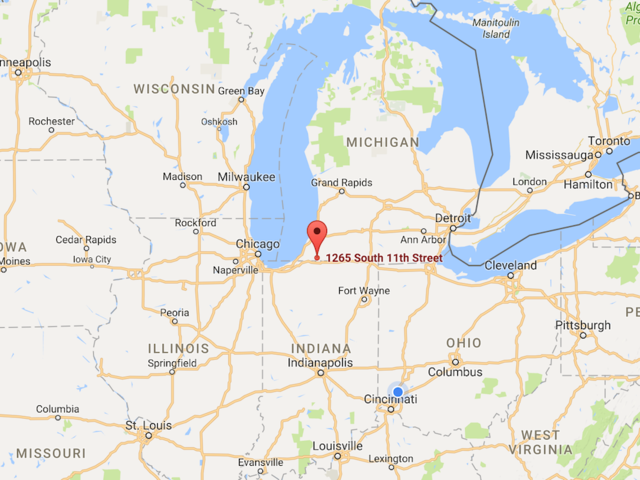 Screen shot of Google Map of Niles Michigan