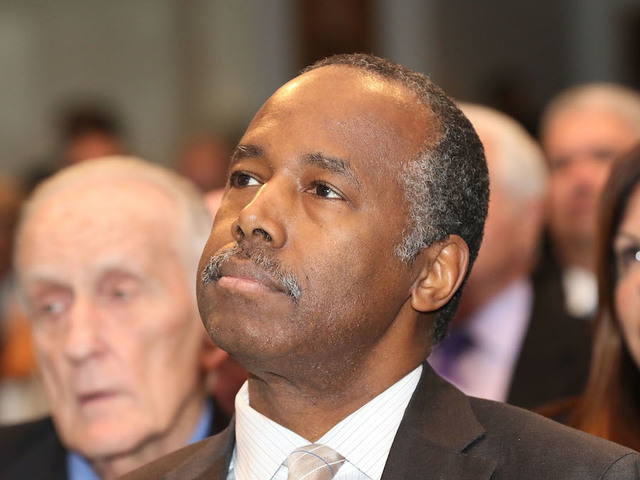 Ben Carson gets stuck in public housing elevator this morning