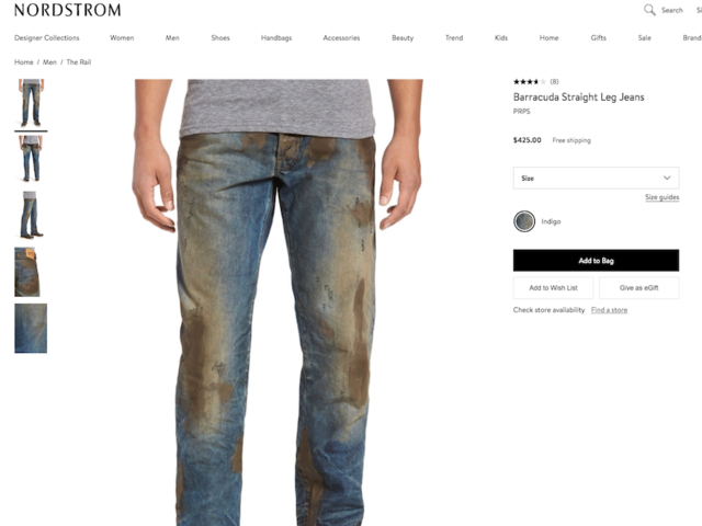 Nordstrom offering pre-dirtied jeans for $425