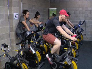 Gym spin class pedals up power