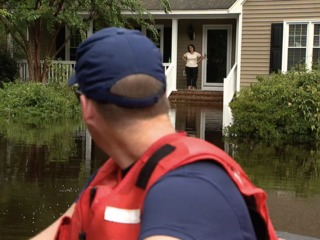 Welfare check in heavily flooded neighborhood